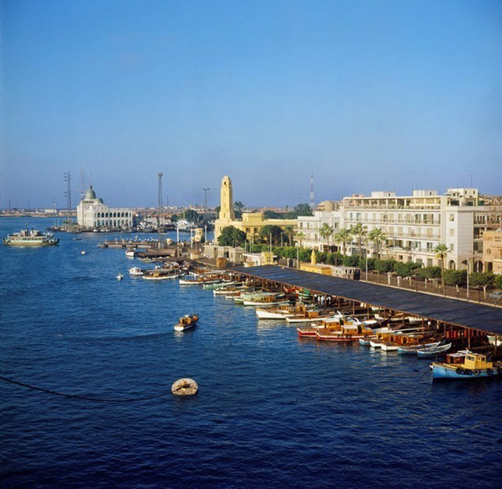 port Said, harbor, Suez canal, Sues, Suez Canal, Sues, in 1965, historical picture, ships, Egypt, Africa, : Stock Photo