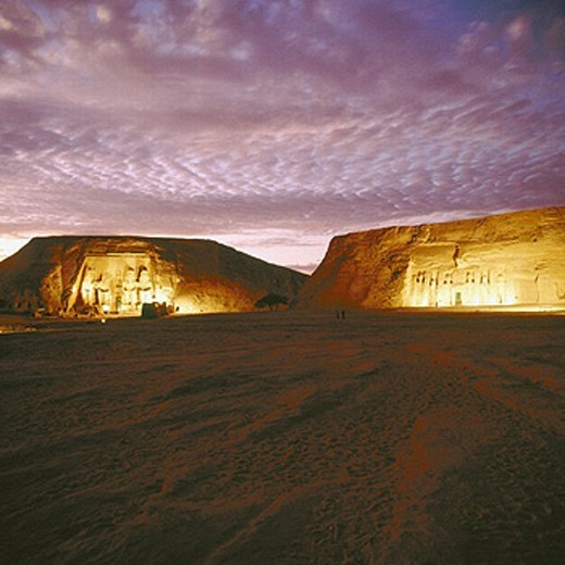 Abu Simbel, Egypt, North Africa, lighting, at night, Nefertari temple, Ramses temple, : Stock Photo