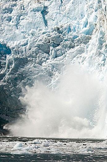 scenery, landscape, glacier, calving, ice, water, sea, Surprise Glacier, Harriman fjord, Prince William Sound, USA, Am : Stock Photo