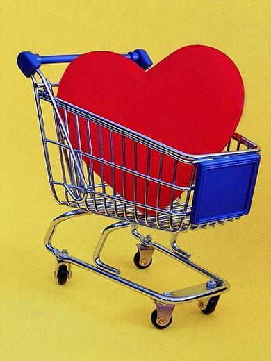 Stock Photo: 1597-26062 love shop, heart, shopping cart, shopping, shopping basket, shopping, goods basket, sex, erotic, Internet, money, figu