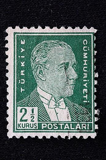 Stock Photo: 1597-26222 stamp, historical, history, Mustafa Kemal Ataturk, 1923_1938, Turkey
