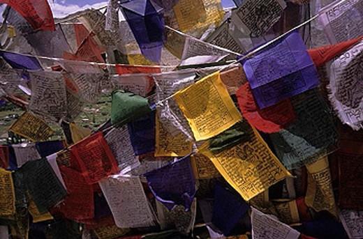 Stock Photo: 1597-26248 prayer flags, holy verses, wind horse, Lungta, Ladakh, India, Buddhism, religion