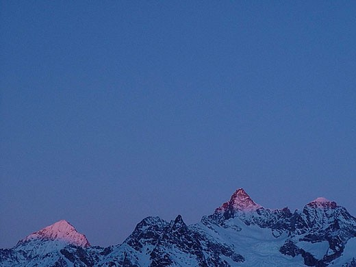 Arbenhorn, Gabelhorn, Wellenkuppe, dusk, alpenglow, Switzerland, Europe, canton Valais, mountains, Alps, alpine, scene : Stock Photo