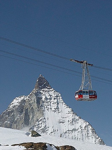 aerial cable railway, transport, cable railway, Kleinmatterhorn, Matterhorn, Switzerland, Europe, canton Valais, mount : Stock Photo
