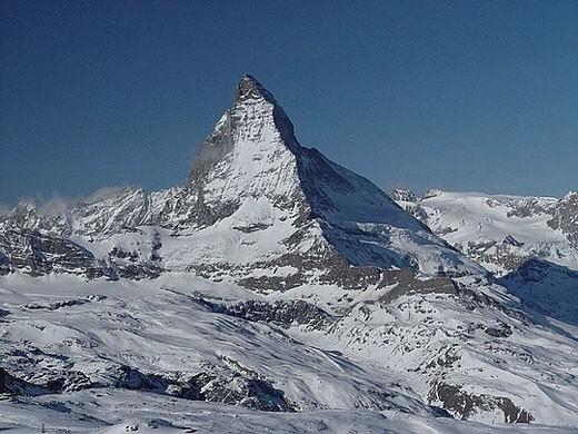 Matterhorn, Switzerland, Europe, canton Valais, mountains, Alps, alpine, scenery, landscape, winter, snow : Stock Photo