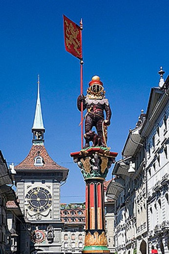 Stock Photo: 1597-26623 Switzerland, Europe, town, city, Bern, tough wrestler well, well figure, Kramgasse, lane, Zytglogge, clock tower, Old