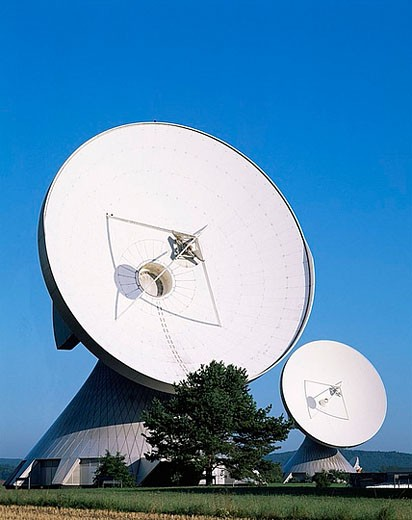 Germany, Europe, Bavaria, Raisting, Satellite Station, Astronomy, Antenna Dish, Telescope, Telescopes, Radio Telescope : Stock Photo