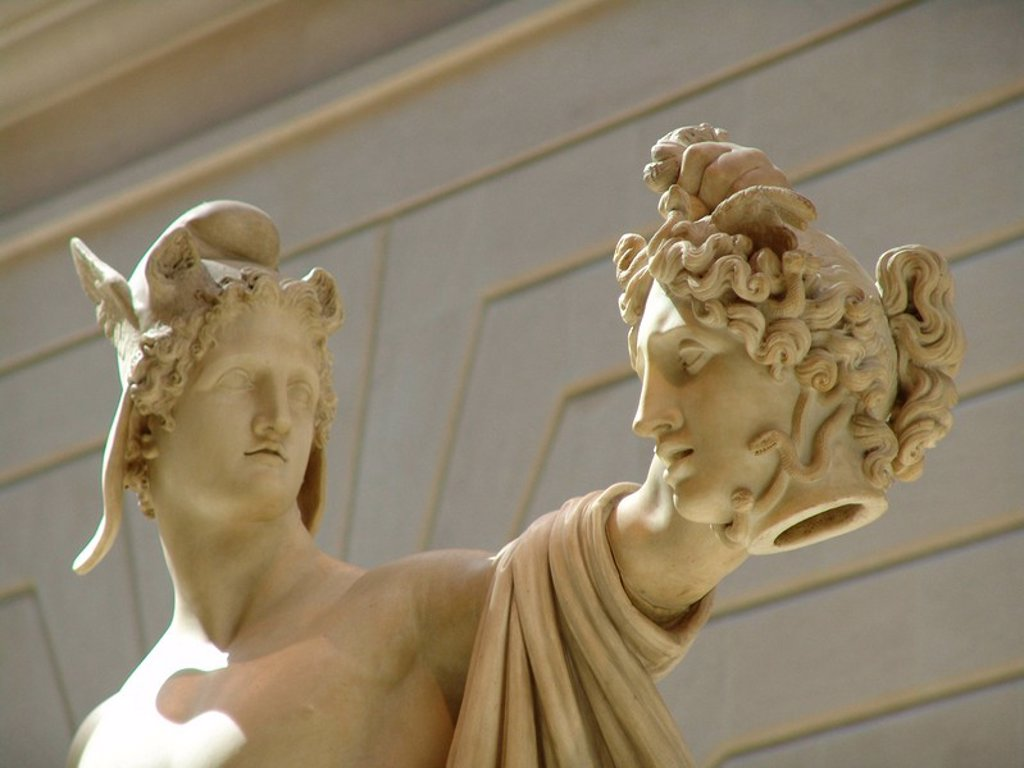 Perseus, Medusa, decapitation beheading, sculpture, representation, art, skill, classicism, plastic, Greek mythology, : Stock Photo