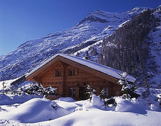 chalet, summer cottage, snowbound, snow_covered, snowy, snow, winter, mountains, Alps, house, home, hut, timber house, : Stock Photo