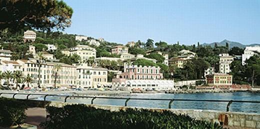 view, fishing harbour, Italy, Europe, Liguria, Riviera di Levante, Saint Margeritha, : Stock Photo