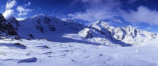 scenery, landscape, Diavolezza, winter, snow, mountains, Alps, Engadine, Grisons, Graubunden, Switzerland, Europe, : Stock Photo