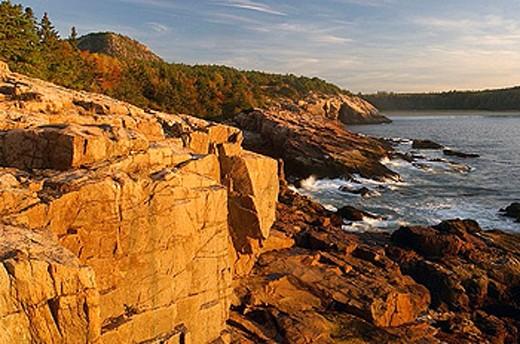 Stock Photo: 1597-28071 Thunder hole, Acadia, scenery, landscape, coast, sea, dusk, twilight, mood, coastal scenery, national, National park,