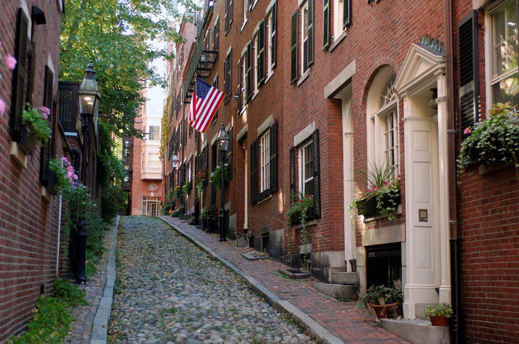 Stock Photo: 1597-28100 lane, town, city, Acorn Street, Beacon Hill, Boston, Massachusetts, USA, America, United States