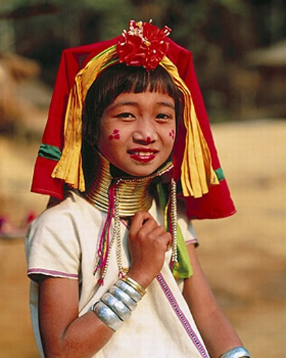 Stock Photo: 1597-2847  golden triangle, cervical jewellery, child, long neck, cirques, girls, rings, Thailand, Asia, national costume,