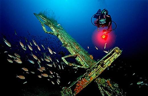 Stock Photo: 1597-28899 Messerschmidt 109, scuba diver, France, Europe, Mediterranean Sea, Ile de Planier, Marseille, world, war, two, ww2, II