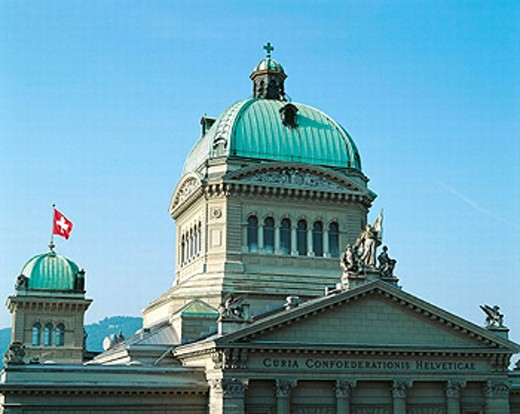 Stock Photo: 1597-2910  town, city, Bern, Switzerland, Europe, Federal Parliament Building, flag, banner, gable, dome, Switzerland, Europe,