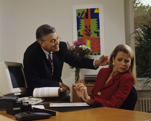 refusal, head, colleague, problematic, secretary, sexual harassment, workplace, woman, : Stock Photo