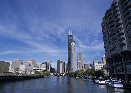 USA, America, United States, North America, Illinois, Chicago, Chicago River, river, flow, Sears Tower, skyline, town, : Stock Photo