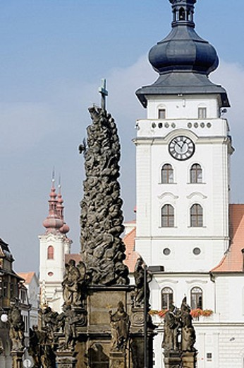 Stock Photo: 1597-29818 Czechia, north Bohemian, Bohemian, Zatec, Saaz, Old Town, church, Maria Ascension, Namesti Svobody, place, space, free