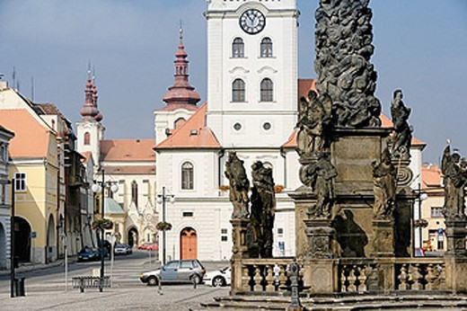 Czechia, north Bohemian, Bohemian, Zatec, Saaz, Old Town, church, Maria Ascension, Namesti Svobody, place, space, free : Stock Photo