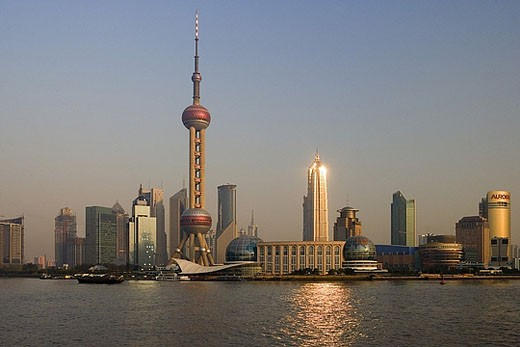 China, Asia, Shanghai, town, city, Pudong, Huangpu, river, flow, Oriental Pearl Tower, skyscraper, skyline, skyscraper : Stock Photo