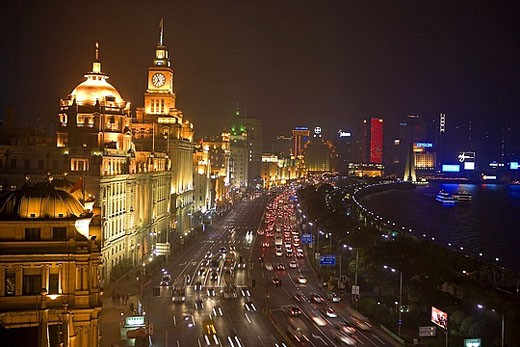 Stock Photo: 1597-30195 China, Asia, Shanghai, town, city, bank promenade, Huangpu, river, flow, at night, night, overview, street, lights, Co