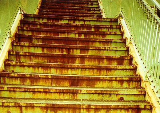Stock Photo: 1597-30645 stair, steps, iron, rust, grate, corrosion, decomposition, railing, Rusting, architecture, building, construction, ris