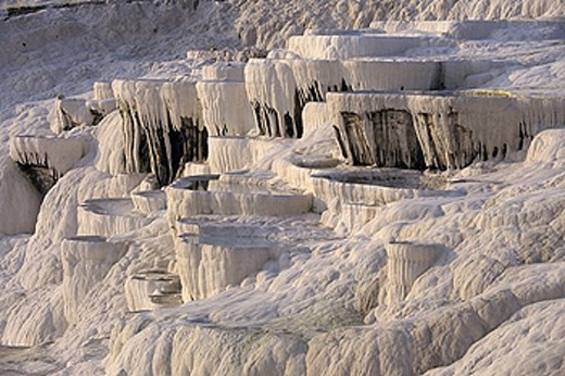 Turkey, scenery, landscape, Pamukkale, sinter terraces, lime sinter terraces, limestone terraces, thermal spring, whit : Stock Photo
