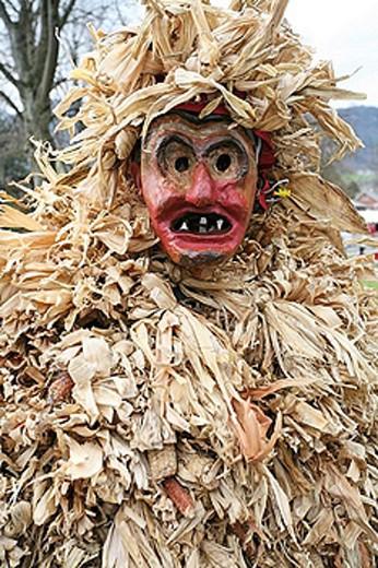 Stock Photo: 1597-31017 costume, mask, disguising, fancy dress, egg throwing, Easter, Oberriet, canton St Gallen, Switzerland, Europe, Easter