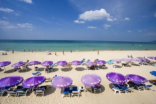 Thailand, Asia, island, isle, Phuket, Karon Beach, beach, seashore, sandy beach, beach, umbrellas, sunshades, deck cha : Stock Photo