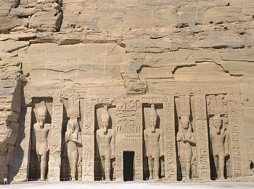 Egypt, North Africa, Abu Simbel, small, little, temple, rock temple, Ramses, Nefertari, Hathor, figures, statues, cult : Stock Photo