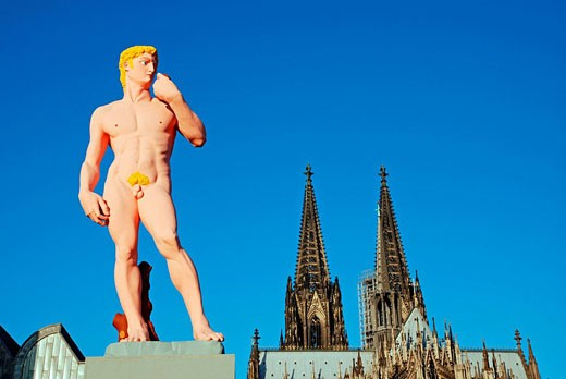 Stock Photo: 1597-31711 Cologne, Germany, Europe, David Imitation, Michelangelo, Heinrich Boll place, Hans_Peter Feldmann, sculpture, statue,