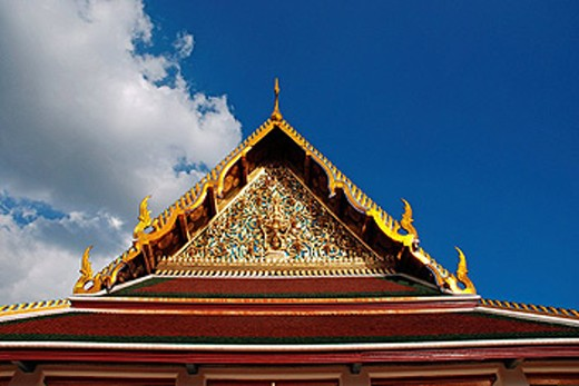 Bangkok, Thailand, Asia, Wat Saket, roof, detail, gilt, Golden, sky tassels, cultural site, historical, Buddhism, reli : Stock Photo