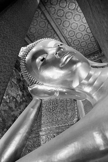 Thailand, Asia, Bangkok, Wat Pho, temple, town, city, Reclining Buddha, Golden, gilt, Buddhism, religion, Inside, cult : Stock Photo