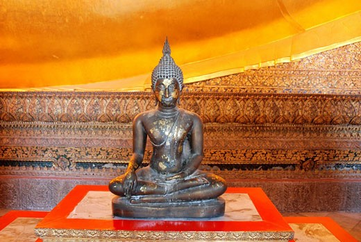 Thailand, Asia, Bangkok, Wat Pho, temple, town, city, Reclining Buddha, Golden, gilt, Buddhism, religion, temple, Insi : Stock Photo
