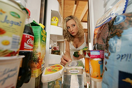 woman, Inside, fridge, food, groceries, food, eating, food, kitchen, cuisine, cooking, boiling, household, budget, sho : Stock Photo