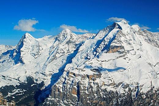 Switzerland, Europe, Eiger, Monch, Jungfrau, Bernese Alps, view, Schilthorn, winter, Lauterbrunnental, Lauterbrunnen V : Stock Photo