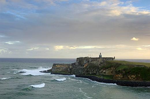 Puerto Rico, San Juan, El Morro, Fuerte San Felipe del Morro, Fort, Caribbean, Coast, Sea, Ocean, Dawn, Dusk, Twilight : Stock Photo
