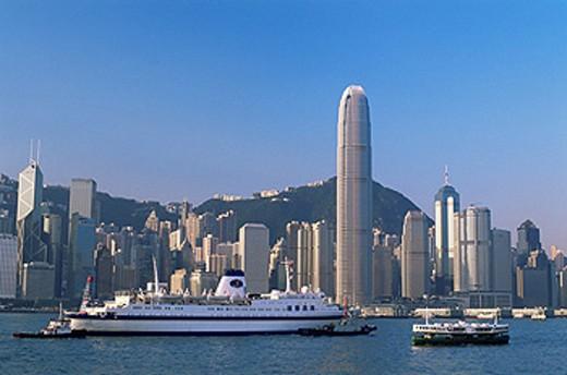 China, Asia, Hong Kong, Tsim Sha Tsui, Kowloon, Central, Victoria harbor, Ships, Boat, Boats, City Skyline, Skyline, C : Stock Photo