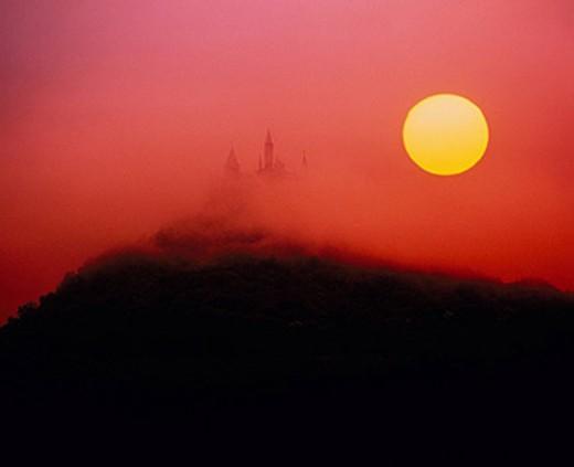 Stock Photo: 1597-32983 Hohenzollern, castle, Germany, Europe, castle, Baden_Wurttemberg, sun, solar ball, ball, sphere, sundown, sunrise, sce
