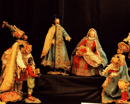 Stock Photo: 1597-33069 creche, cradle, manger, cradle figures, figures, historical, Old, skillful, Christmas, scene, Bible, Christianity, tra