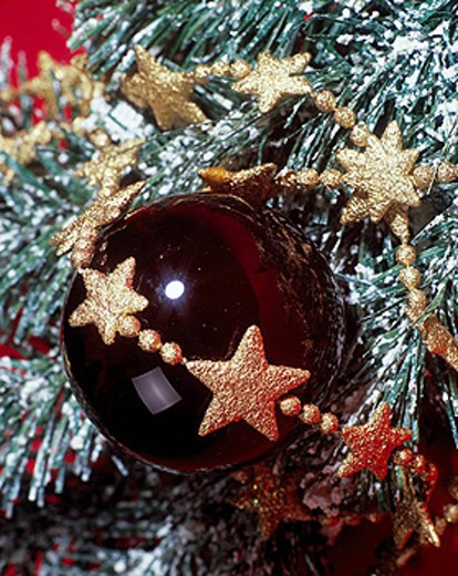 Stock Photo: 1597-33073 Christmas, detail, branches, branch, ball, sphere, needles, brooches, Christmas decoration, decoration, adornment, sta