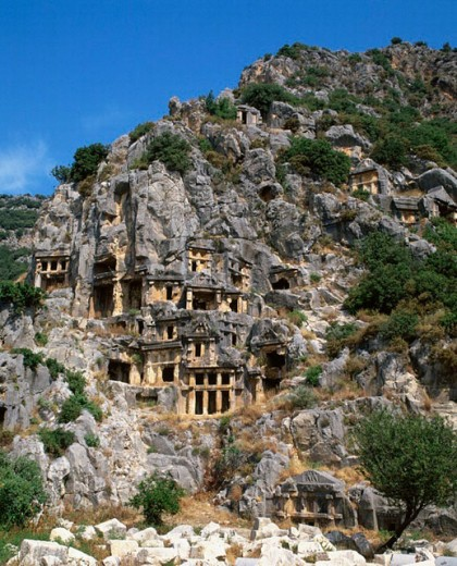 Stock Photo: 1597-3341  antique, trees, cliff graves, cliff wall, Myra, ruins, Straucher, Turkey,