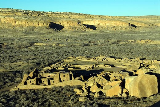 Stock Photo: 1597-33422 USA, America, United States, North America, New Mexico, Chaco Culture, National Historical Park, Ancient ruins, UNESCO