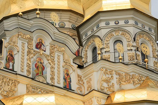Cathedral of the Dormition, Lavra, Kiev, Ukraine, Architecture, Building, Buildings, facade, Icon, Icons, Saint, Chris : Stock Photo