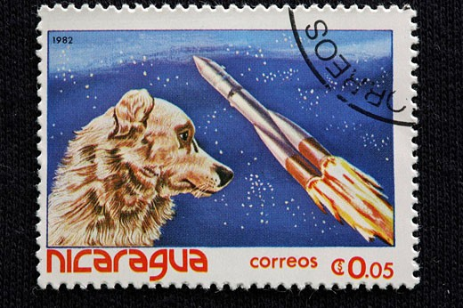 Exploring of space, postage stamp, Nicaragua, 1982, Nicaragua, Exploring of space, Astronaut, cosmos, space, Expeditio : Stock Photo