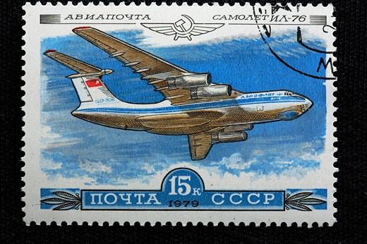 History, aviation, Russian plane Ilyushin_76, Engraving, USSR, Soviet Union, Russia, Russian, History, aviation, plane : Stock Photo