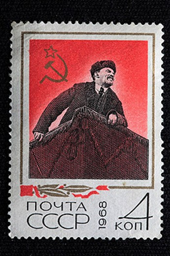 Stock Photo: 1597-33652 Vladimir Lenin, postage stamp, USSR, 1968, Engraving, USSR, Soviet Union, Russia, Russian, socialism, socialist, commu