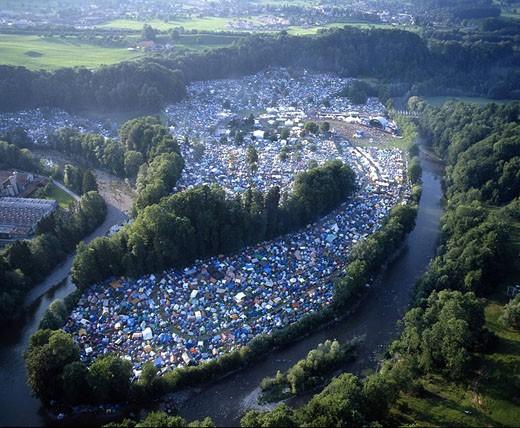 Stock Photo: 1597-33923 Switzerland, Europe, Openair St.Gallen, Aerial view, Concert, Live music, Festival, Open air, Culture, River, Landscap
