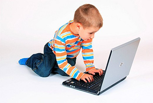 Boy, 4 years old, Laptop, Notebook, Computer, Child, Children, Toddler, Learning, Education, School, Surfing, Internet : Stock Photo